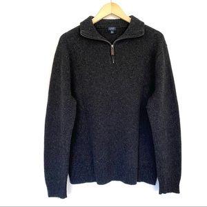 J. Crew Gray Lambs Wool Quarter Zip Sweater
